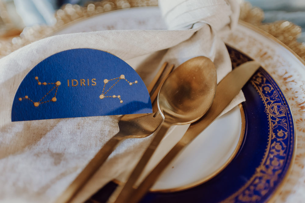 Place Setting Decor Plate Napkin Place Name Navy Gold Wedding Ideas Gina Fernandes Photography