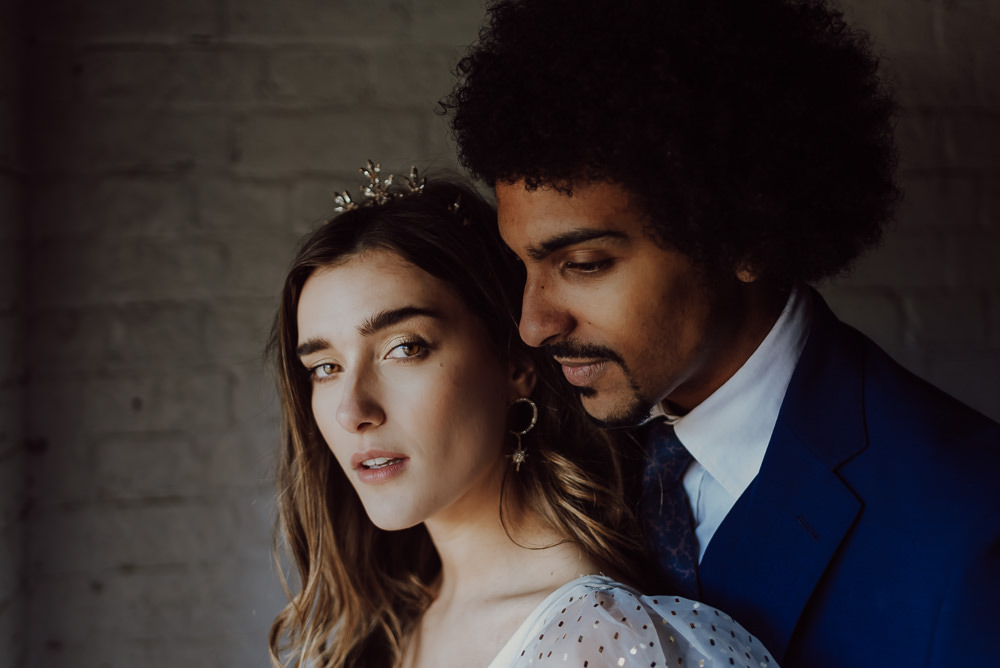 Bride Bridal Hair Make Up Crown Navy Gold Wedding Ideas Gina Fernandes Photography