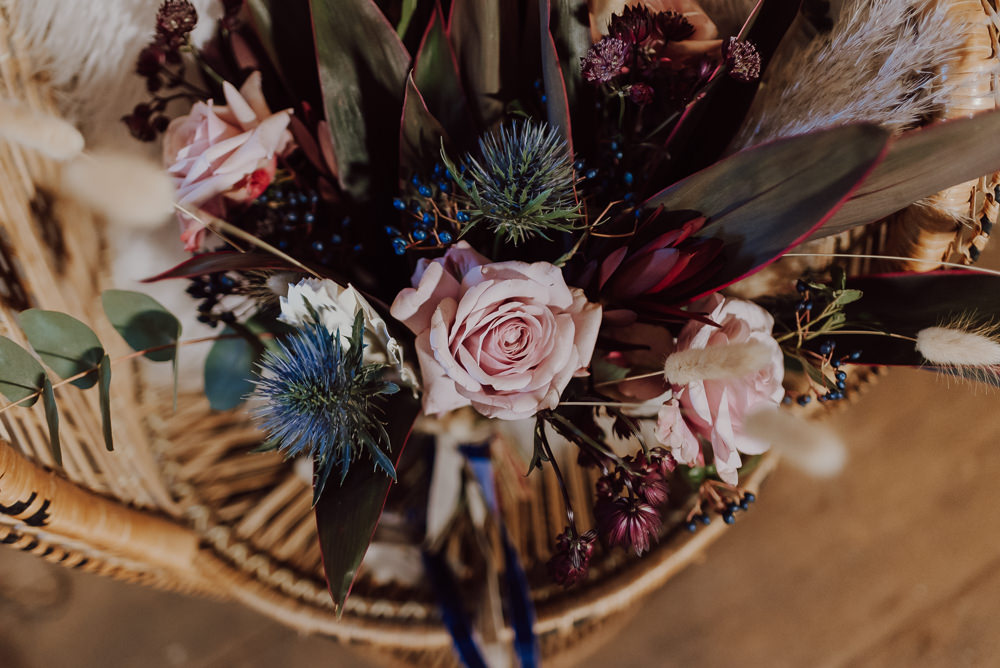Bouquet Flowers Bride Bridal Rose Thistle Navy Gold Wedding Ideas Gina Fernandes Photography