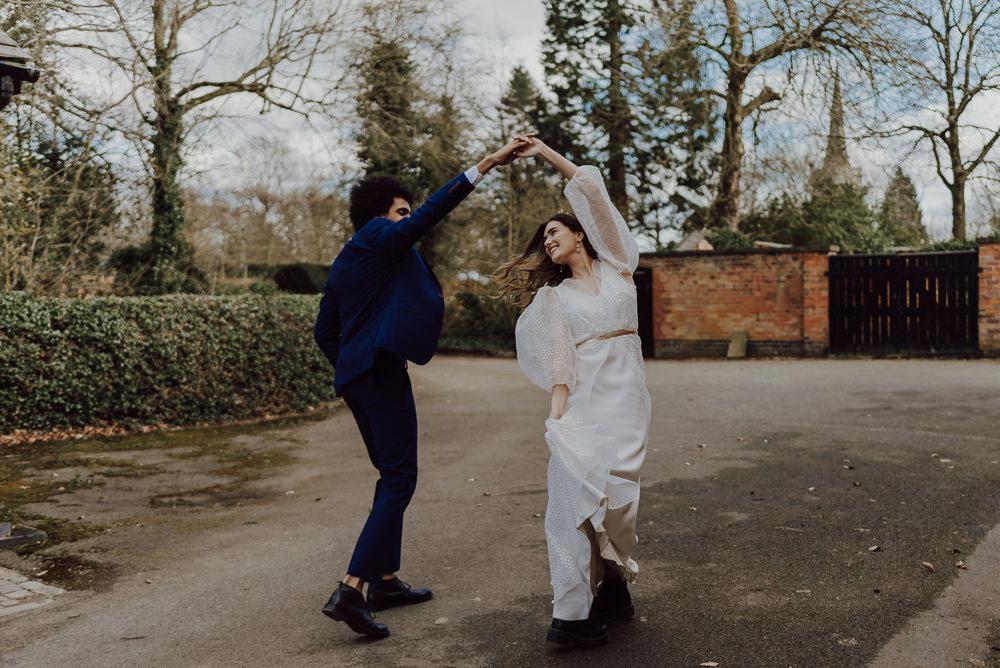 Dress Gown Bride Bridal Long Balloon Sleeves Polka Dot Navy Gold Wedding Ideas Gina Fernandes Photography