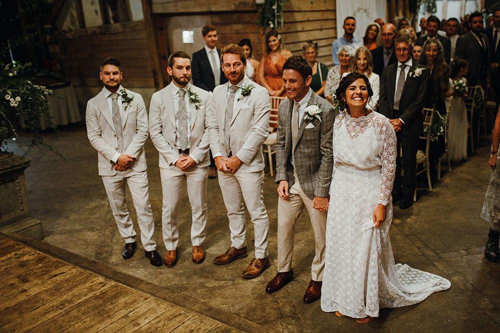 Groom Groomsmen Suit Linen Grey Check Tie Preston Priory Barn Wedding Leah Lombardi Photography