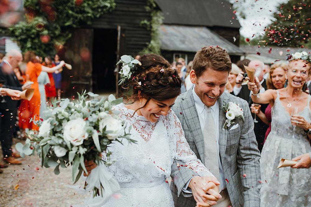 Confetti Throw Preston Priory Barn Wedding Leah Lombardi Photography