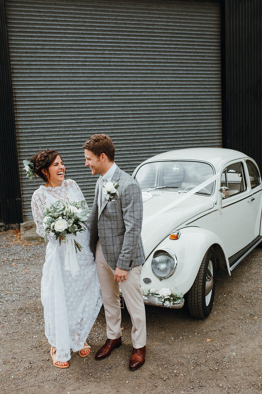 VW Beetle Car Transport Preston Priory Barn Wedding Leah Lombardi Photography