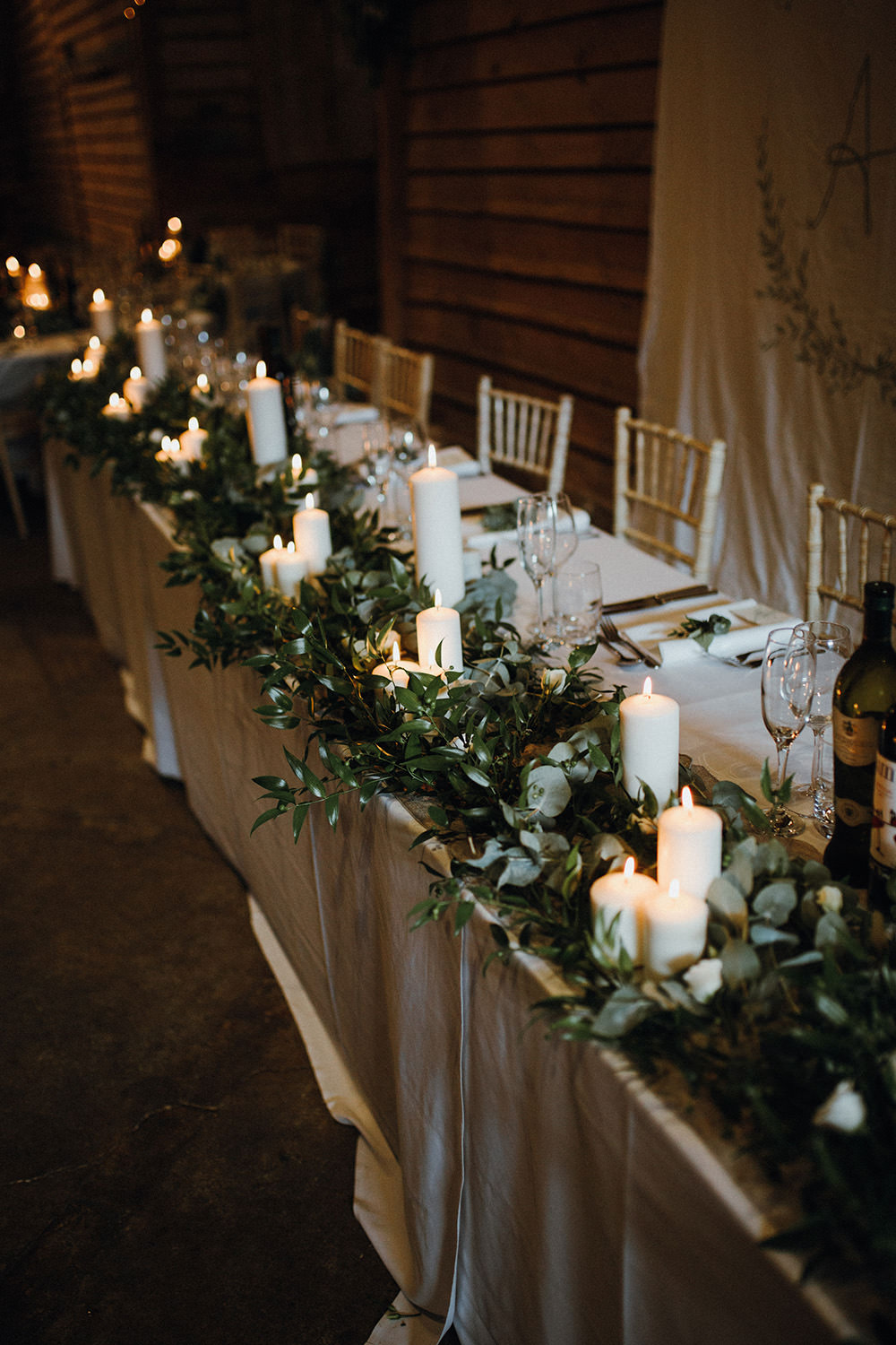 Long Tables Greenery Candles Top Table Preston Priory Barn Wedding Leah Lombardi Photography