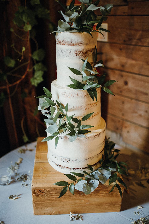 Tall Semi Naked Cake Greenery Foliage Preston Priory Barn Wedding Leah Lombardi Photography