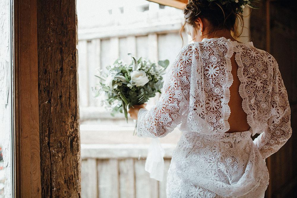Dress Gown Bride Bridal Lace Sleeves Boho Bohemian Preston Priory Barn Wedding Leah Lombardi Photography