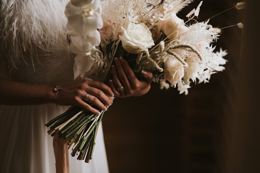 Bouquet Flowers Bride Bridal Pink Rose Grass Orchid Ballet Wedding Ideas Henry Lowther Photographer