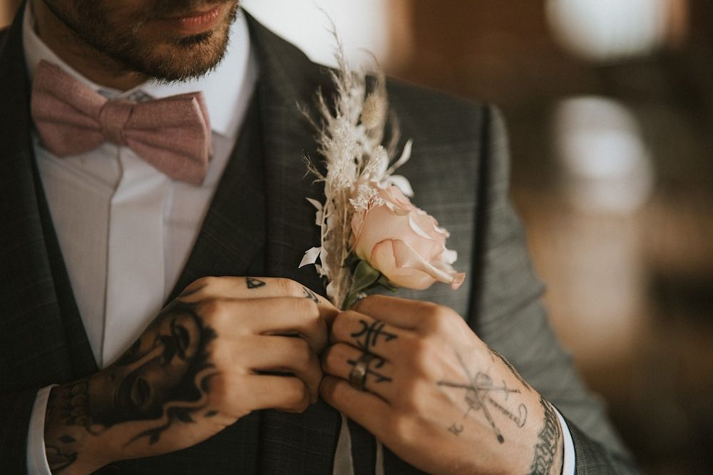 Groom Buttonhole Flowers Pink Rose Ballet Wedding Ideas Henry Lowther Photographer