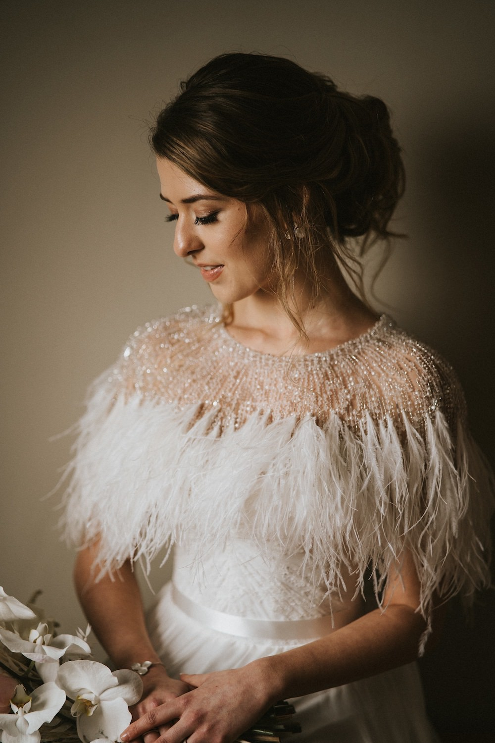 Dress Gown Bride Bridal Strapless Feather Cape Bolero Ballet Wedding Ideas Henry Lowther Photographer