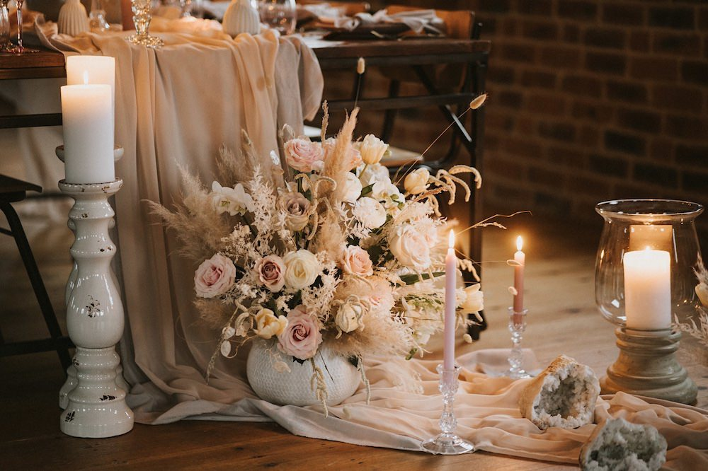 Floor Flowers Candles Fabric Pretty Decor Ballet Wedding Ideas Henry Lowther Photographer