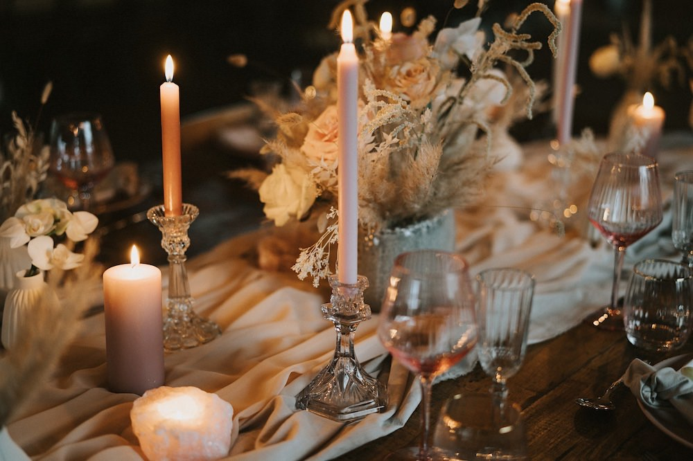 Centrepiece Flowers Decor Decoration Table Candles Pink Rose Ballet Wedding Ideas Henry Lowther Photographer