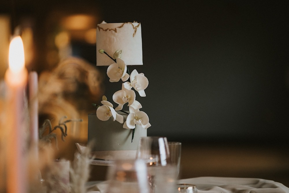 Floating Cake Orchid Grey Ballet Wedding Ideas Henry Lowther Photographer