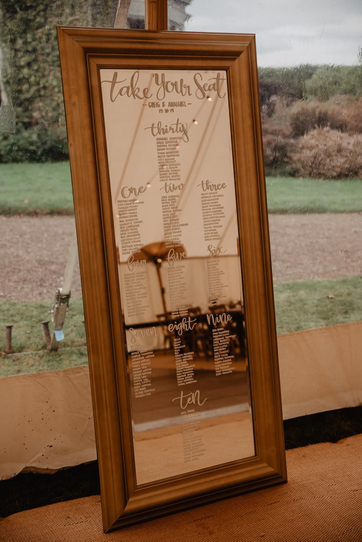 Table Plan Seating Chart Mirror Family Farm Wedding Janine Kirkwood Photography