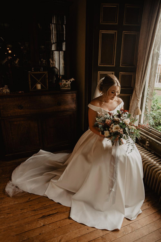 Dress Gown Bride Bridal Nicola Anne Bridal Pockets Train Veil Farm Wedding Janine Kirkwood Photography