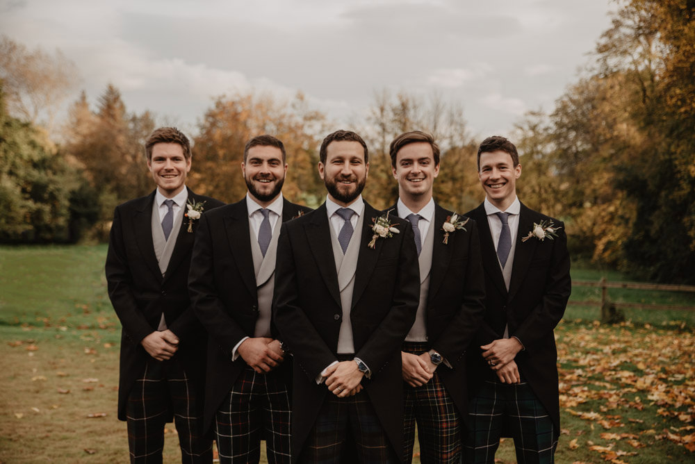 Groom Suit Groomsmen Tails Tartan Trousers Family Farm Wedding Janine Kirkwood Photography