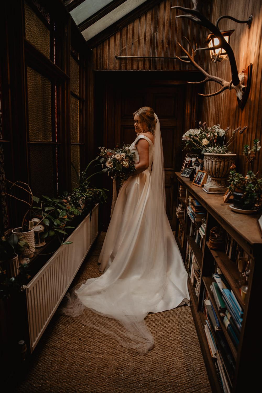 Dress Gown Bride Bridal Nicola Anne Bridal Pockets Train Veil Family Farm Wedding Janine Kirkwood Photography