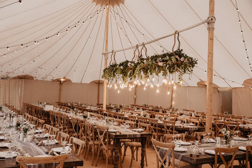 Pole Tent Marquee Hanging Suspended Greenery Edison Lights Festoon Lighting Family Farm Wedding Janine Kirkwood Photography