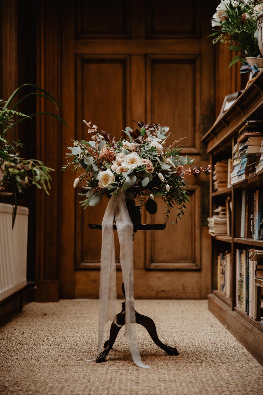 Bouquet Flowers Bride Bridal Ribbon Rose Foliage Greenery Family Farm Wedding Janine Kirkwood Photography