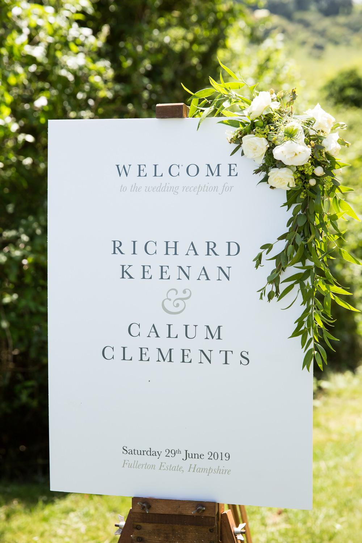 Welcome Sign Signs Signage Flowers Fullerton Estate Wedding Hannah Larkin Photography