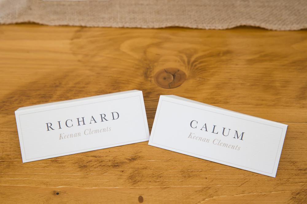 Place Name Cards Fullerton Estate Wedding Hannah Larkin Photography