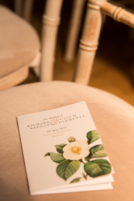 Floral Stationery Order of Service Fullerton Estate Wedding Hannah Larkin Photography