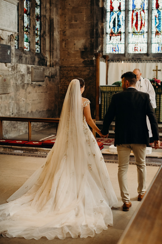 Bride Bridal Dress Gown Ian Stuart Summertime Embroidery Train Veil Hornington Manor Wedding Richard Skins Photography