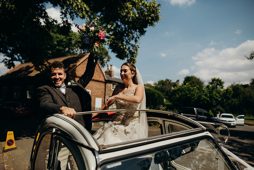 Car Transport Citroen 2CV Hornington Manor Wedding Richard Skins Photography