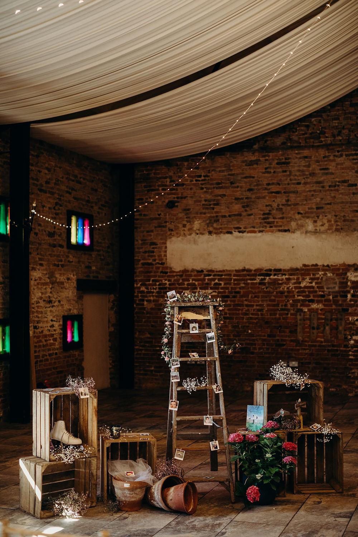 Ladder Wooden Box Crate Decor Hornington Manor Wedding Richard Skins Photography
