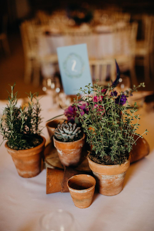Centrepiece Decor Table Pot Plants Herbs Hornington Manor Wedding Richard Skins Photography