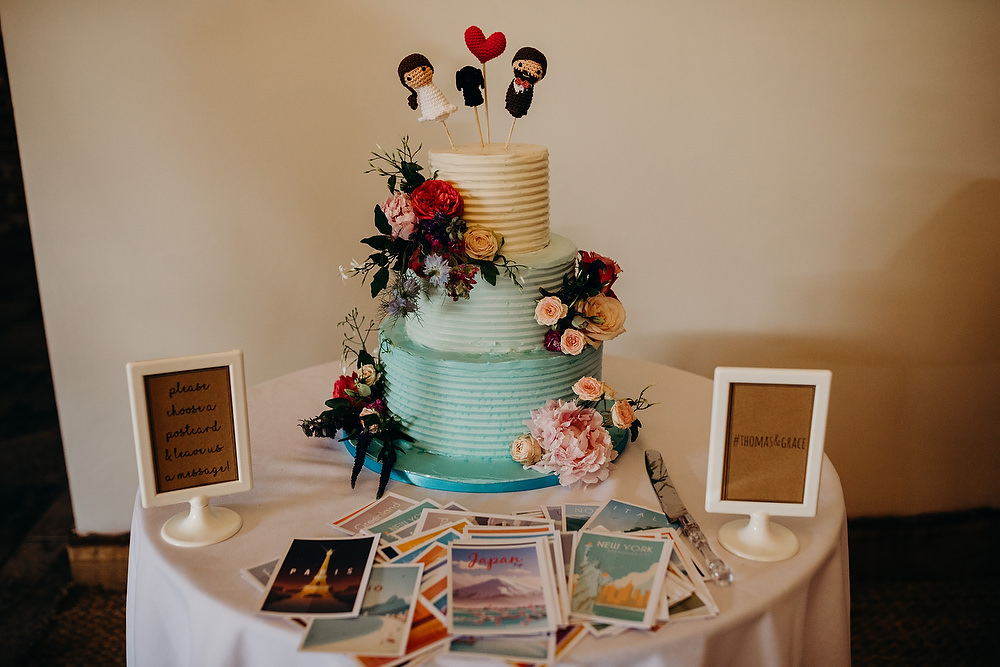 Cake Mint Green Ombre Flowers Toppers Hornington Manor Wedding Richard Skins Photography