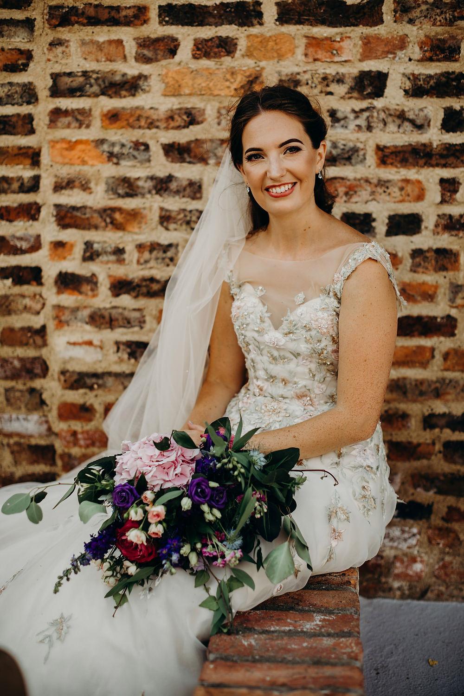 Bride Bridal Dress Gown Ian Stuart Summertime Embroidery Veil Hornington Manor Wedding Richard Skins Photography
