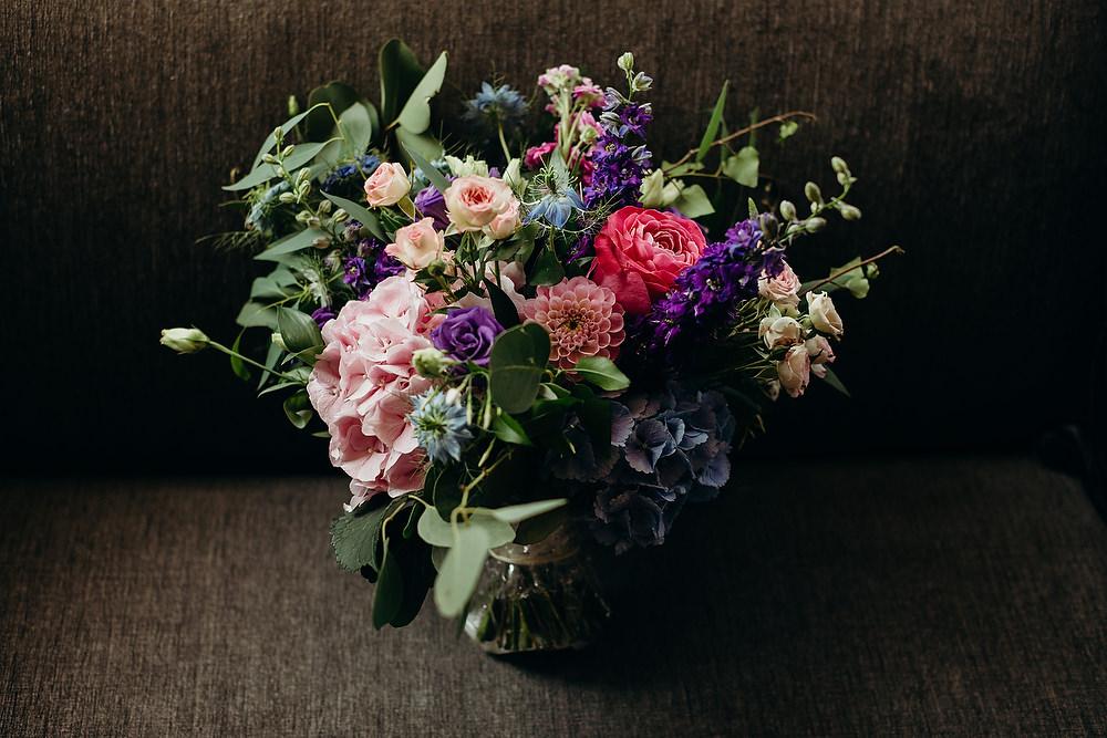 Bouquet Flowers Bride Bridal Dahlia Rose Hydrangea Hornington Manor Wedding Richard Skins Photography