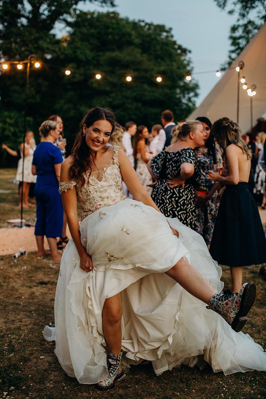 Bride Bridal Dress Gown Ian Stuart Summertime Embroidery Boots Hornington Manor Wedding Richard Skins Photography