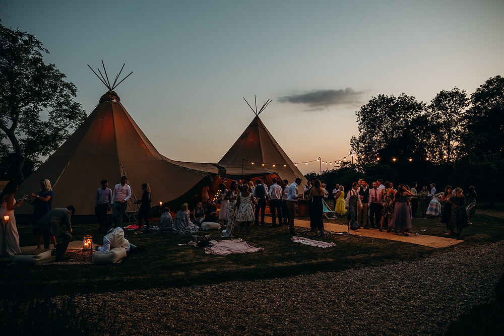 Tipi Festoon Lights Hornington Manor Wedding Richard Skins Photography