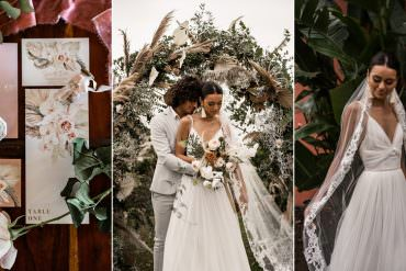 Marbella Elopement Ideas in Terracotta Tones with Dried Palm Leaves
