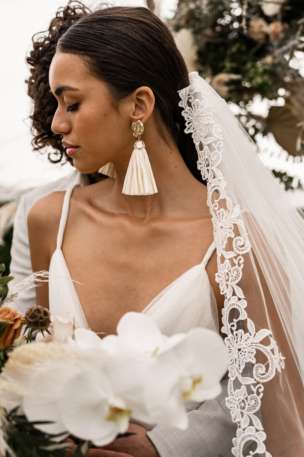 Bride Bridal Earrings Marbella Elopement Wedding Nora Photography