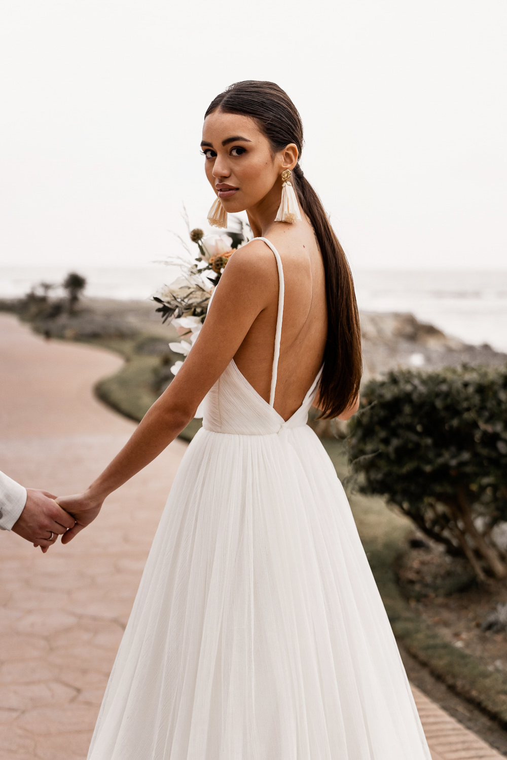 Ponytail Hair Dress Gown Bride Bridal Straps Skirt Marbella Elopement Wedding Nora Photography
