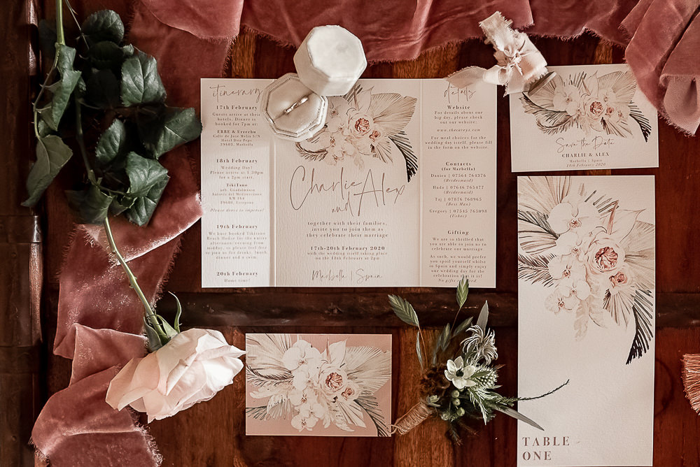 Stationery Floral Pink Invite Invitation Velvet Ring Box Marbella Elopement Wedding Nora Photography