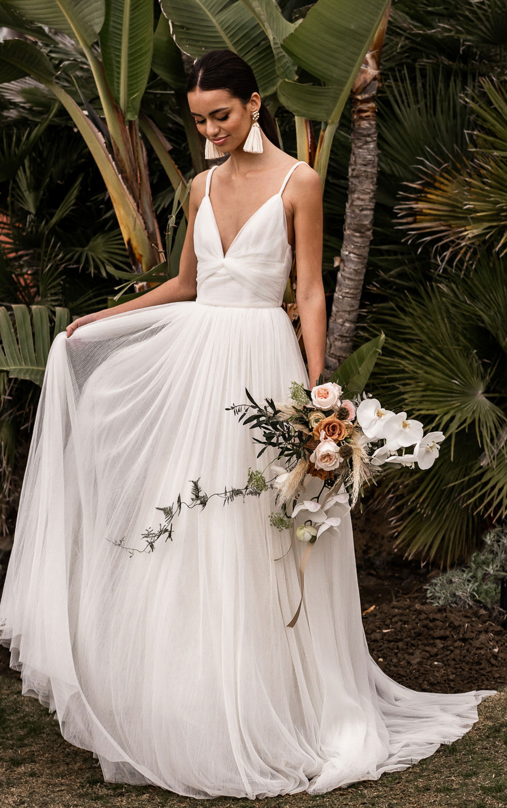 Dress Gown Bride Bridal Straps Skirt Marbella Elopement Wedding Nora Photography