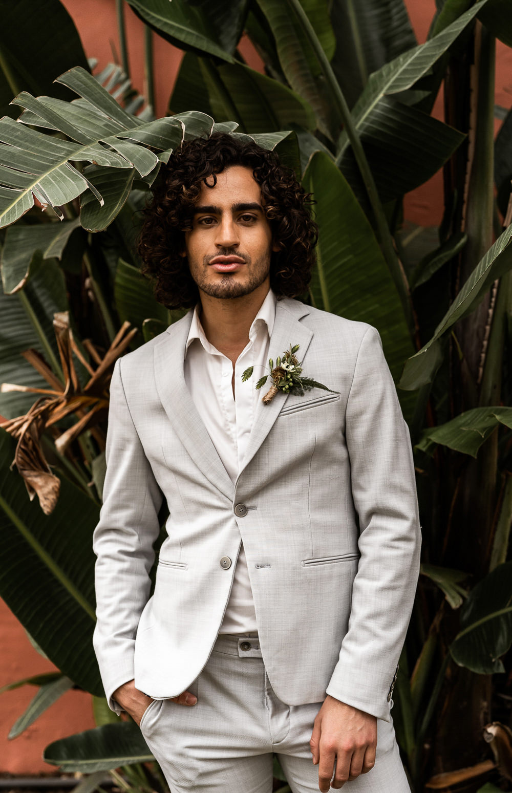 Groom Suit Grey Open Collar Marbella Elopement Wedding Nora Photography