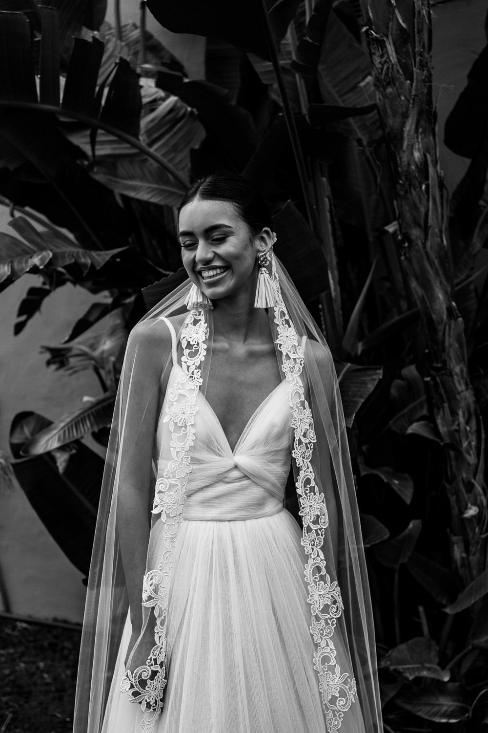 Dress Gown Bride Bridal Straps Skirt Lace Veil Marbella Elopement Wedding Nora Photography