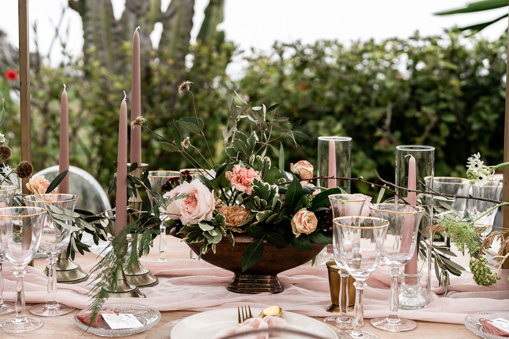 Table Flowers Centrepiece Greenery Pink Rose Marbella Elopement Wedding Nora Photography