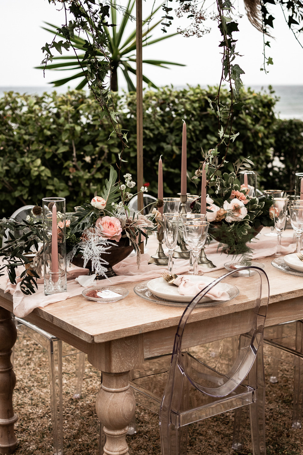 Table Tablescape Flowers Candles Decor Ghost Chairs Suspended Flowers Greenery Hanging Marbella Elopement Wedding Nora Photography