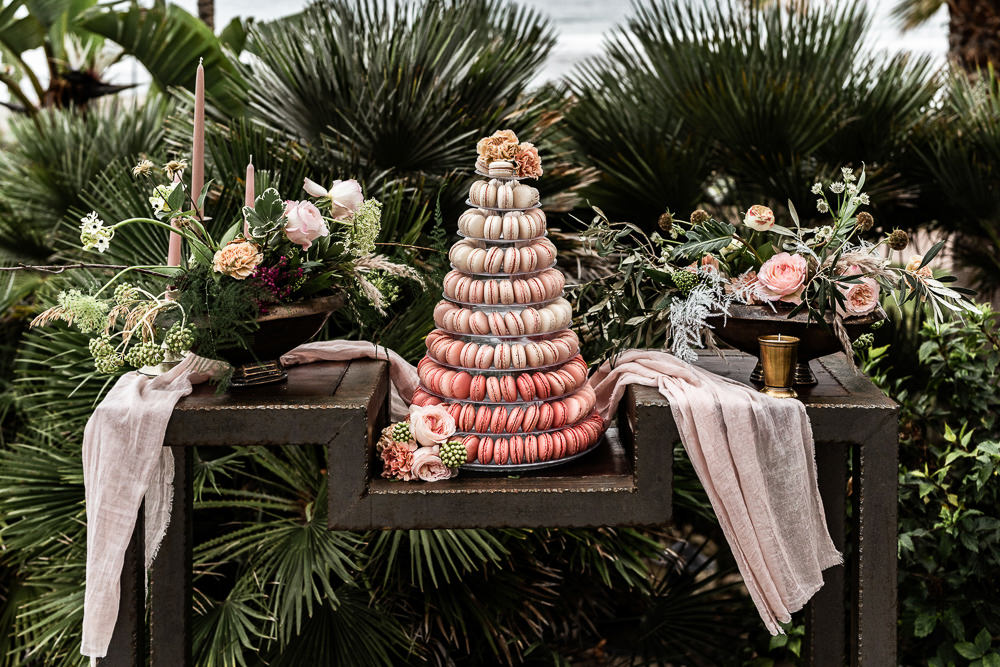 Macaron Tower Cake Ombre Marbella Elopement Wedding Nora Photography