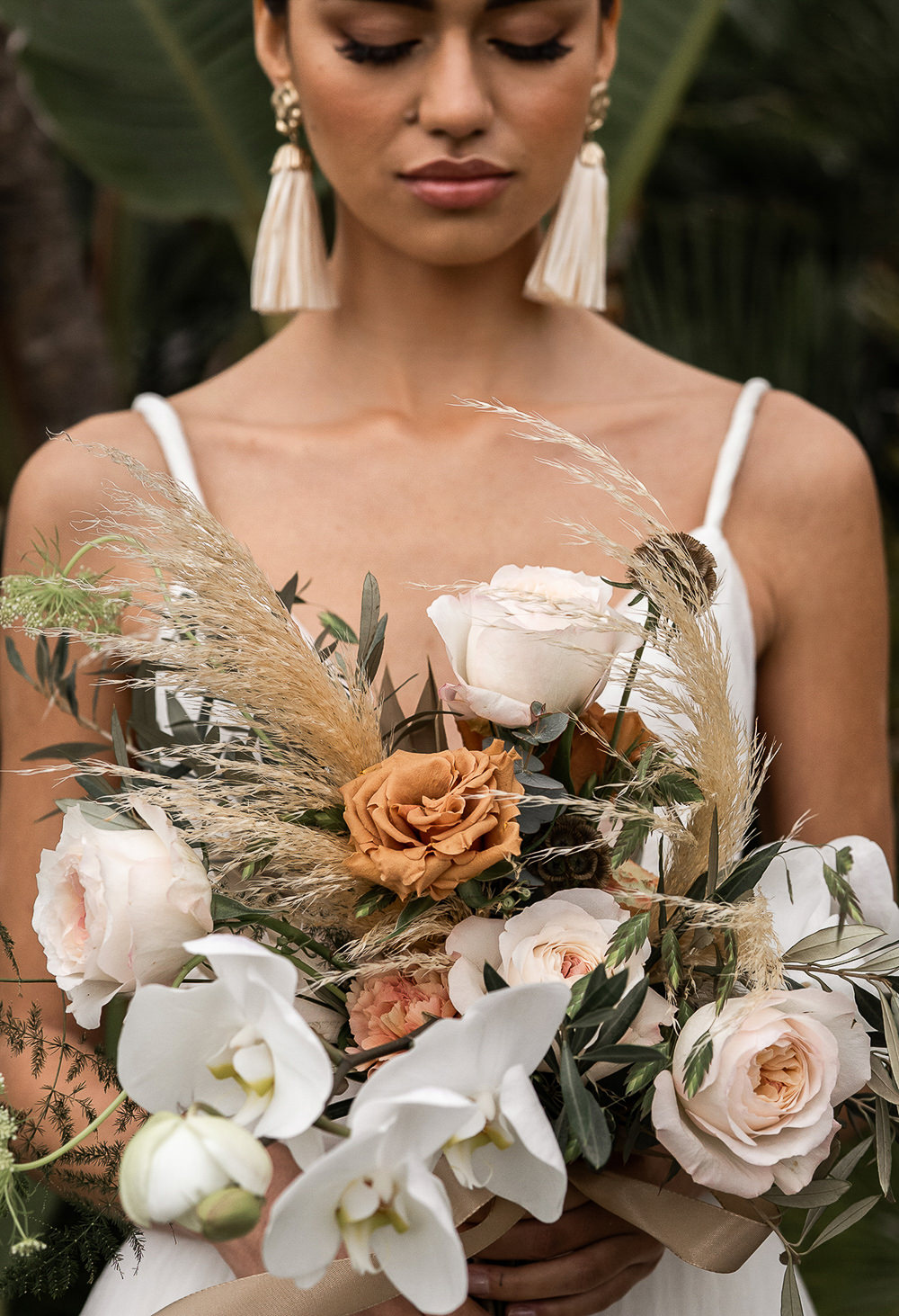 Bouquet Flowers Bride Bridal Orchid Orange Rose Pampas Grass Marbella Elopement Wedding Nora Photography
