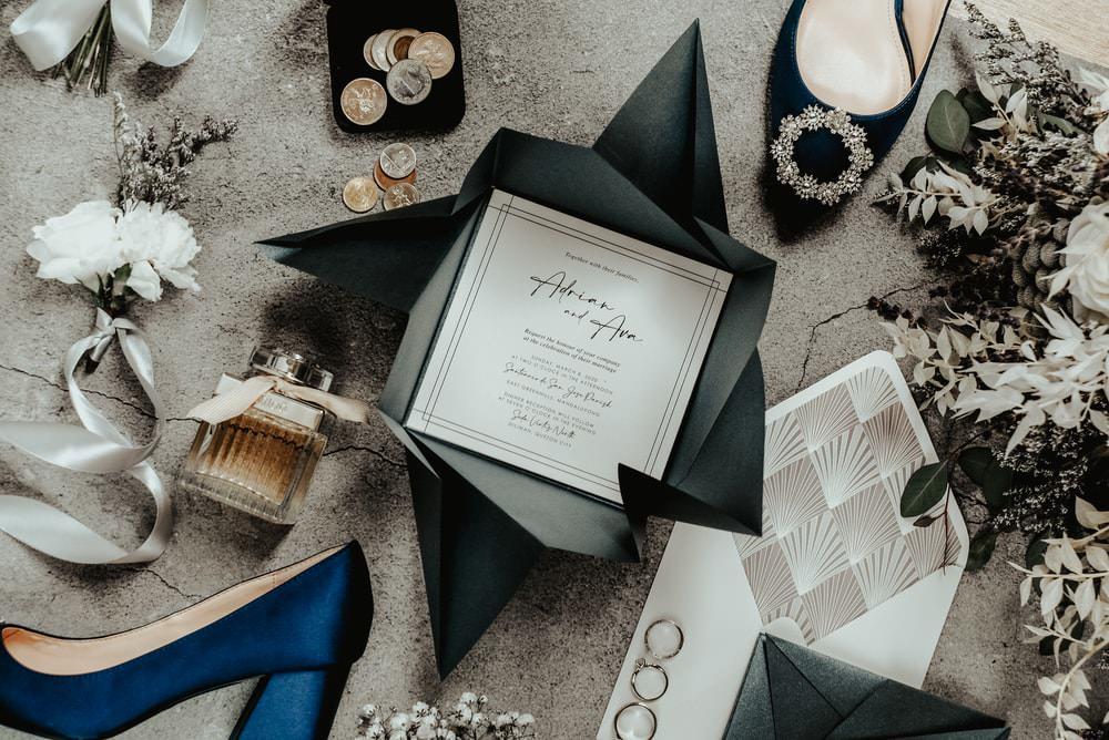 Stationery Invite Invtiations Blue Grey Philippines Wedding The Backyard Studios
