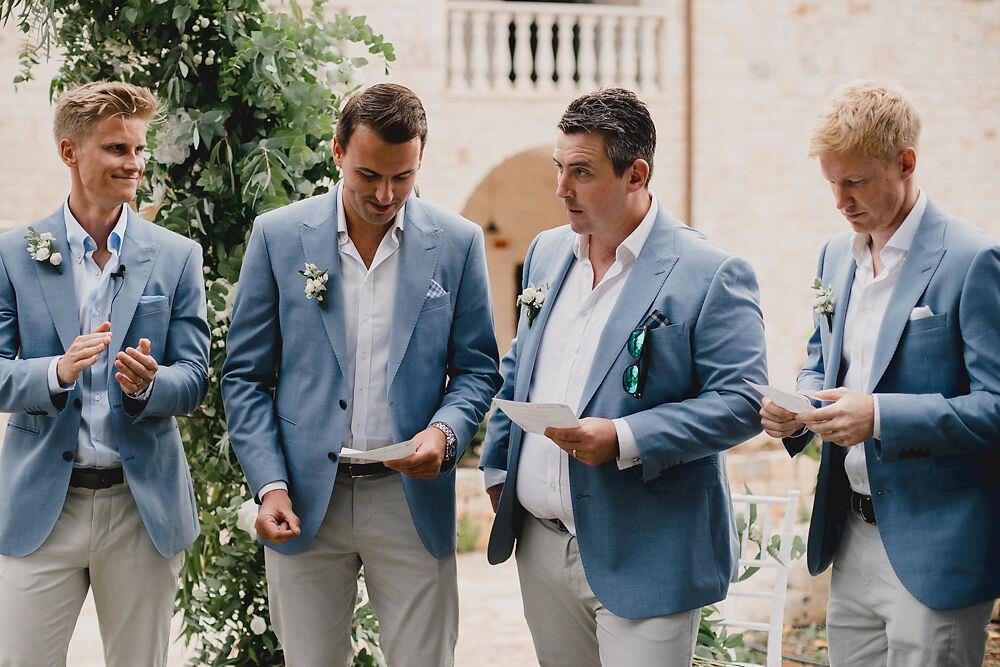 Groom Groomsmen Suits Blue Jacket Cream Trousers Tan Shoes Puglia Wedding MIKI Studios
