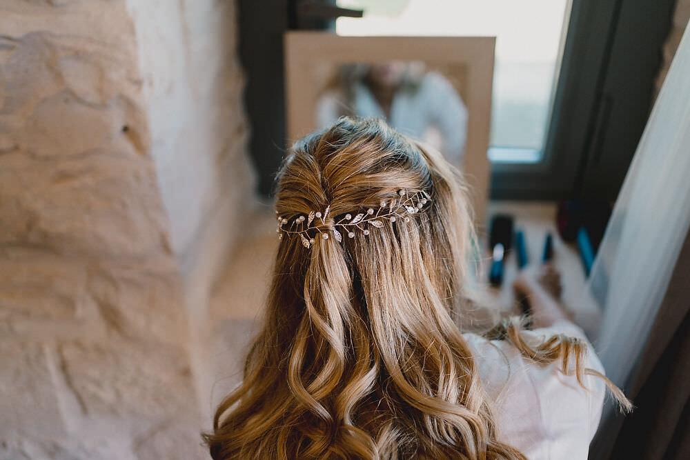 Bride Bridal Hair Style Half Up Half Down Puglia Wedding MIKI Studios