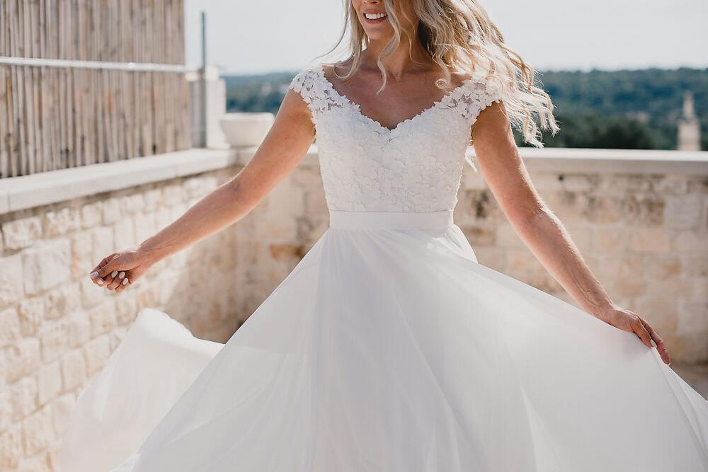 Dress Gown Bride Bridal Lace Sleeves Puglia Wedding MIKI Studios