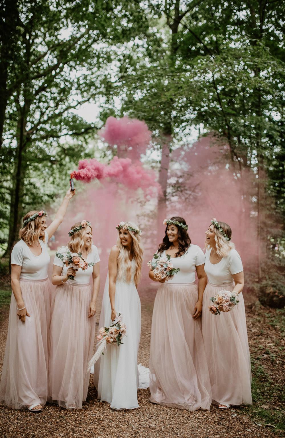 Bridesmaids Bridesmaid Dress Dresses Pink Skirt Top Smoke Bomb Whimsical Boho Wedding Camilla Andrea Photography